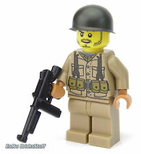Ww2 WWII Custom us soldado con Brickarms Thompson, personaje de lego ® partes