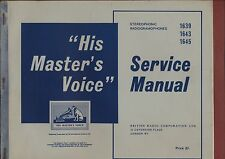 More details for  service manual 'his masters voice' 1639 1643 1645   radiogramaphones   ya.12
