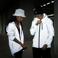 Reflective Jacket Men/women Harajuku Windbreaker Jackets Hooded Streetwear Coat