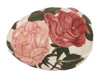"Trinket Box Ceramic Egg Raised 3D Roses Floral 6"" X 4"" X 4"""
