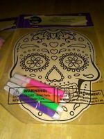 New Color your own Wood Sugar Skull Day Of the Dead Dia de los Muertos Halloween