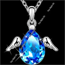 Angel Wings Aquamarine Silver Necklace Pendant Chain Xmas Gifts for Her Girls B5