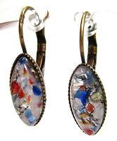 SoHo® Ohrhänger vintage bohemia navette feueropal weiß 1960er Jahre Glas Gablonz