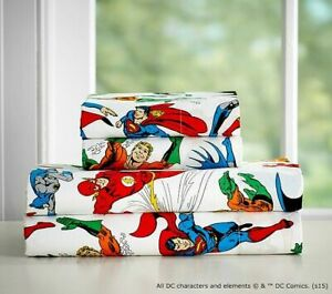 Pottery Barn Kids DC Justice League Twin Sheets & 1 Standard Pillowcase Set Of 3