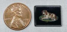 Antique Spaniel Dog Micro Mosaic, Italy, Grand Tour,  Miniature Art