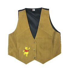 Vintage Winnie the Pooh Brown Tan Suede Leather Vest Embroidered Size M/L