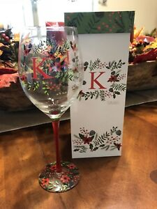 "Monogram ""K"" Christmas Wine Glass Gift Boxed 12 Oz Christmas Wine Glass New"