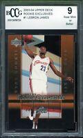 2003-04 Upper Deck Rookie Exclusives #1 LeBron James Rookie Card BGS BCCG 9 NM+