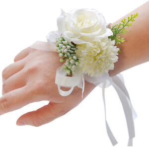 Delicate Wrist Corsage Bracelet Bridesmaid Sister Hand Flower Wedding Party #VJ