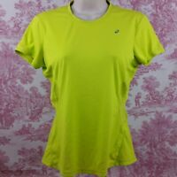Asics Women's Athletic Running Shirt Short Sleeve Yellow Size Small S Stretch