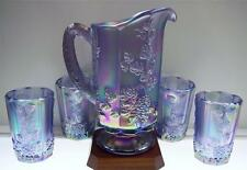 Fenton Water Set 5pc VIOLET SATIN CRNVL Grape Pattern 4650XK * FREE USA SHIPPING