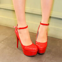 Women's Patent Leather Strappy Platform High Heel Party Pumps Shoes AU 2-12 D275