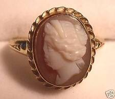 antique stone cameo 10K gold ring size 6