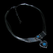 5 Strand .925 Liquid Sterling Silver Natural Blue Turquoise Heart Necklace
