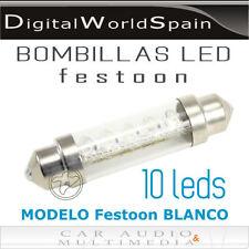 2 UD. BOMBILLA FESTOON/C5W 10 LEDS BLANCOS  44MM A 12V