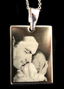 Precision Engraved Gold Plated Titanium Rectangular Photo Pendant