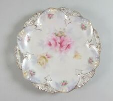 Vintage RS Prussia China Pink&Yellow Roses Handled Cake Plate Point&Clover Mold