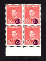 1941 **MUH** WAR TAX - 2.5d Scarlet  BLOCK of 4 - SURCHARGE is OFF STAMP IMAGE