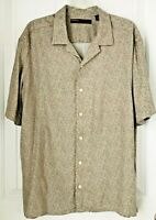 PERRY ELLIS  Mens  Shirt Size  LARGE Short  Sleeve Front Button Up 100% RAYON