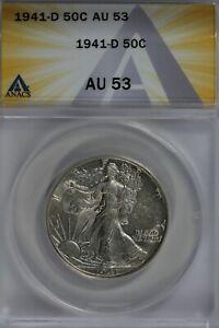 1941-D   50C ANACS   AU53   Walking Liberty, Lady Liberty Half, 0.50