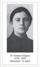 St Gemma Galgani  Prayer CARD (wallet size)