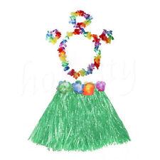 Cute Kids Hawaiian Grass Hula Lei Skirt Flower Wristband Garland Fancy Costume