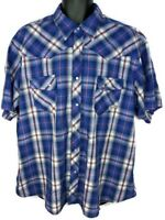 Wrangler Men's 2XL Wrancher Western Shirt Button Up Short sleeve Red Blue Used