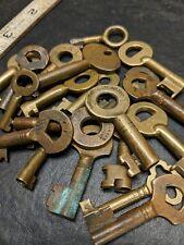Lot Of 20 Antique Brass Hollow Barrel Keys