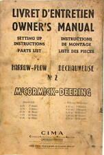 1949 Mc CORMICK DEERING HARROW PLOW DECHAUMEUSE LIVRET OWNER'S PARTS  TRACTEUR