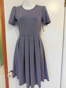 New LuLaRoe Amelia Dress Blue with White Stipes Size XSmall