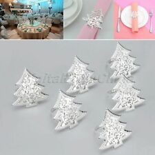 6Pcs Silver Napkin Rings Holder Christmas Tree Lunch Party Decor Favor Tableware