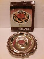 Vintage Silverplate Chip and Dip Plate Sheridan No 15605 No Glass Bowl 12 3/4""
