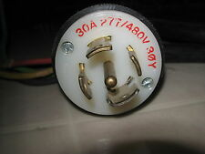 Hubbell Twist-Lock 30A 277/480V 3ph Y plug with 6 ft 12AWG 4 wire cord