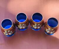 Bohemia Czech Cobalt Crystal Brandy Glasses With Enameled Flowers And Gold Gilt