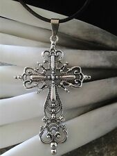 schönes großes Kreuz Halskette Echt Leder Kette filigran Muster Metall Silber
