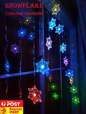 15 LED Seven Colour Change Snowflake Curtain Lights