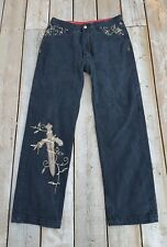 Crown Holder Black Jeans Size 32 Leather Swords Gold Embroidery
