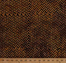 African Herringbone Zigzag Black Gold Cotton Batik Fabric Print BTY D375.02