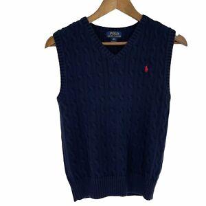 Polo Ralph Lauren Boys Size M (10-12) Cable Knit Blue Sweater Vest