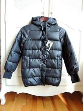 IKKS Girls Black hooded winter Parka/puffer coat with bows detailed front size 8