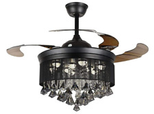 Modern Fandelier Ceiling Fan with Light  Retractable Blades Crystal Chandelier