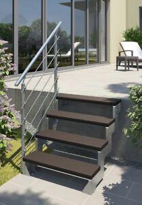 Außentreppe Gardentop - Gartentreppe - Terrasse - 2 dunkelbraune Trimax Stufen