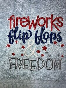 Embroidered Light Blue Bathroom Hand Towel Fireworks Flip Flops Freedom 4th July