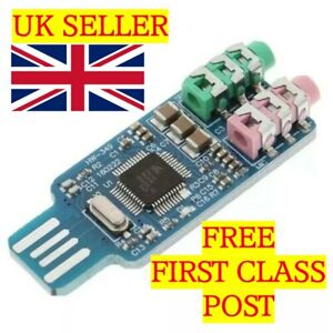 CM108 -UK SELLER- USB Driver Free Sound Card - FASTEST 1st CLASS DELIVERY
