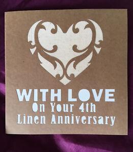 Handmade Paper Cut 4th Wedding Anniversary Card. 100% Natural Linen heart.