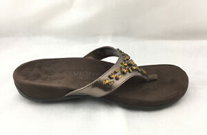 Vionic Orthaheel Pearl Gemstone Copper Thong Flip Flop Sandals Sz 9 Medium