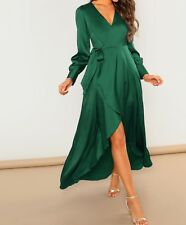 V Neck Long Sleeve Wrap Belted A Line Fit and Flare Elegant Dress Casual Party