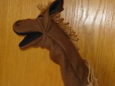 Horse hand puppet movable mouth brown fleece ready to ship
