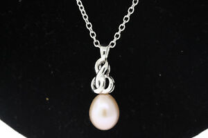 NEW Sterling Silver 11.8x9.1mm Oblong Genuine Pearl Pendant 17 Inch Necklace