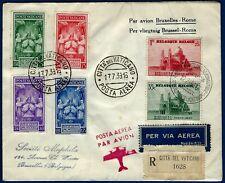 1939 - Raccomandata via aerea per Bruxelles con affrancatura mista